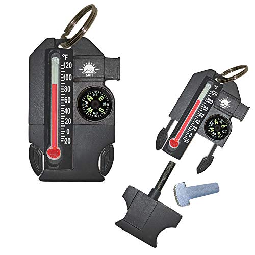 Sun Company Outsider - 4-in-1 Survival Multi-Tool | Compass, Thermometer, Whistle, and Fire Starter...