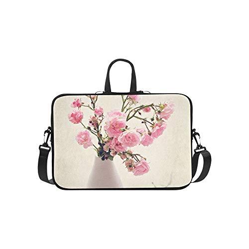Laptop Umhängetasche Umhängetasche Tasche Notebook Griff Ärmel Neopren Soft Carring Tablet Reisetasche, kleine Wilde rosa Rosen Vase Textur Laptop Handtaschen 14