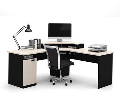 Bestar Hampton corner workstation in Sand Granite & Charcoal