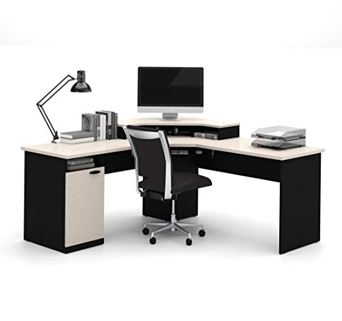 Bestar Hampton corner workstation in Sand Granite & Charcoal