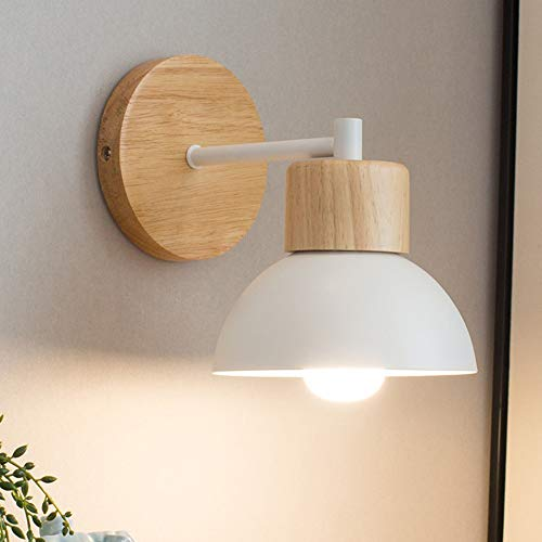 E27 Lámpara de pared Nordic de madera, lámpara LED de pared de aluminio para bar, cafetería, iluminación de hogar, dormitorio, lámpara de mesita de noche