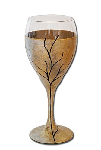 """Sand and Water Creations Hand Painted Kiddush Cup Wine Glass Tree of Life 7"""" Gold Silver"""
