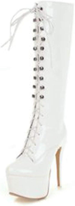 HOESCZS Neue Groe Gre 33-48 Zip Up Plattform Stiefel Frau Schuhe Dünne High Heels Kniehohe Stiefel Frauen Schuh Frauen,