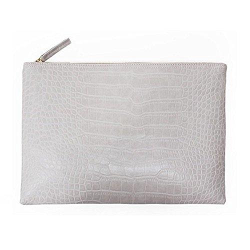 NIGEDU Women Clutches Crocodile Grain PU Leather Envelope Clutch Bag (White)