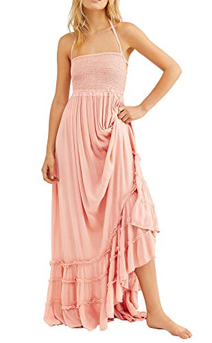 R.Vivimos Womens Summer Cotton Sexy Blackless Long Dresses (Small, Blush)