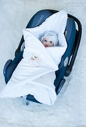BlueberryShop Leuke Velour Auto Stoel Swaddle Wrap/Deken voor Pasgeboren Baby, Wit