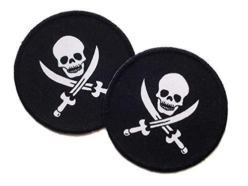 Set 2 Piraten Patches Applikationen mit Totenkopf für Jungen, ø 7 cm