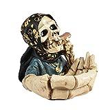 Hearthxy Aschenbecher für draussen Auto Skelett Totenkopf Halloween dekoTischaschenbecher Tischdeko Horror Gruselig Schädeldekoration für drinnen und draußen, Heimdekoration, Raucherbehälter