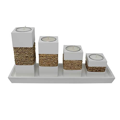 Trendy Wood & Light Step weiß Kerzenhalter Teelicht Dekoartikel Holz Tischdekoration Kerze Schale (weiß)