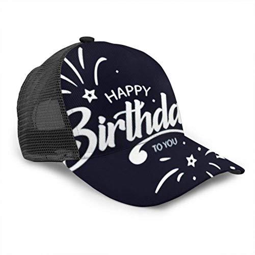 LINPM Baseball Cap Männer Frauen, Alles Gute zum Geburtstag Karte Schöne Gruß Banner verstellbare Trucker Mesh Sommer belüftete Baseball Sun Cap Hut Golf Hut