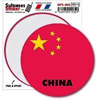 WFS-002 CHINA 中国 国旗ステッカー サークル スーツケースステッカー