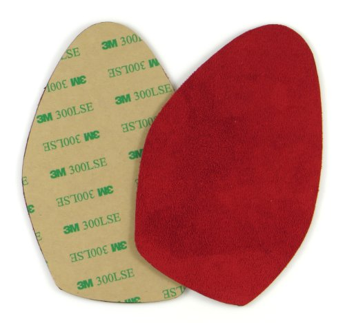 Stick-on suede soles for high-heeled shoes, with industrial-strength adhesive backing. Resole old dance shoes or convert your favorite heels to perfect dance shoes. [SUEDE-LA-red]