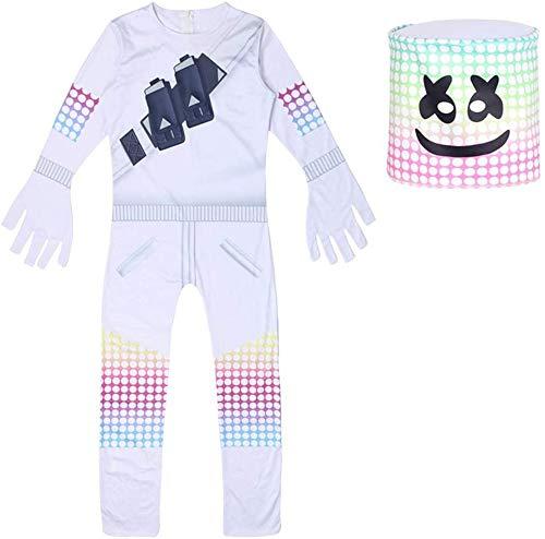Disfraz de Malvavisco de DJ para Nios de la Noche de la Fortaleza de la Noche de Halloween Cosplay de la Ropa de Marshmallow Mscara Navidad Fiesta (12-13 aos de edad)