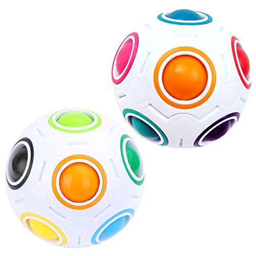 KidsPark 2 Stück Magic Ball Regenbogen Ball Zauberwürfel 3D Puzzle Ball Speed Cube Würfel Regenbogenball Toy Pädagogische Spielzeug Weiß + Weiß