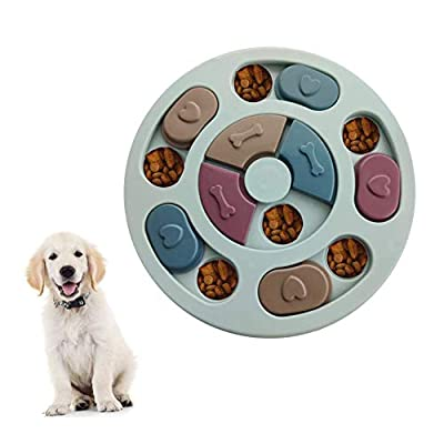 Elezenioc Dog Puzzle Slow Feeder Toy,Puppy Treat Dispenser Slow Feeder Bowl Dog Toy,Dog Brain Games Feeder with Non-Slip, Improve IQ Puzzle Bowl for Puppy