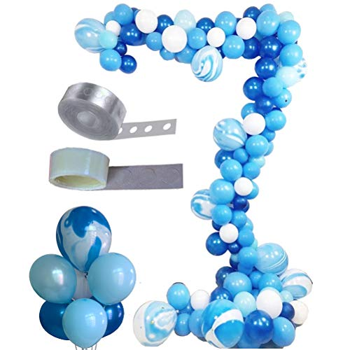 Balloon Arch & Garland Kit, Asonlye 128 Pcs Balloon Bouquet Kit, Holiday, Wedding, Baby Shower, Graduation, Anniversary Organic Party Decorations(Blue Kit)
