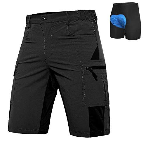 Hiauspor Herren Mountainbike Hose Baggy MTB Shorts 3D gepolsterte Radhosen Loose Fit Schnelltrocknende Fahrradhose