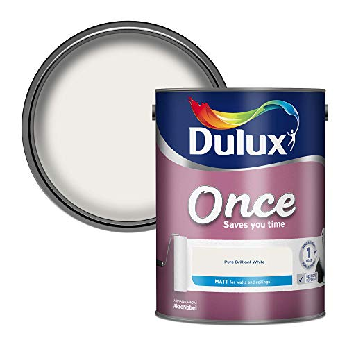 Dulux Once Matt Emulsion Paint For Walls And Ceilings - Pure Brilliant White 5 Litres