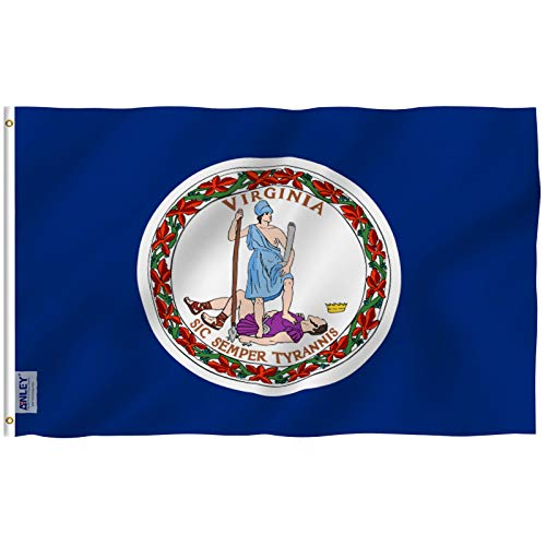 Anley Fly Breeze 3x5 Foot Virginia State Polyester Flag - Vivid Color and Fade Proof - Canvas Header and Double Stitched - Virginia VA State Flags with Brass Grommets 3 X 5 Ft
