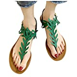 haoricu Womens Flat Shoes Summer Teen Girl Gladiator Open Toe Sandals Breathable Sandals Fashion Shoes Green