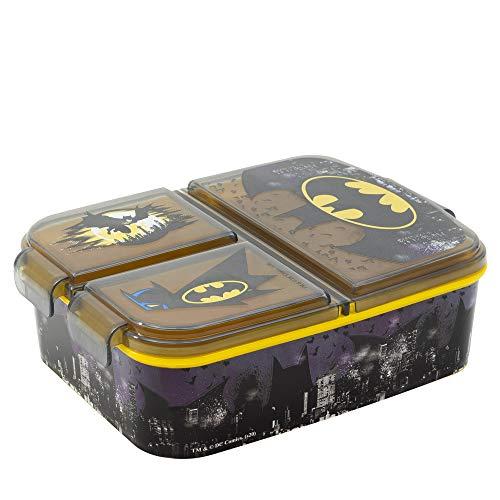 BATMAN | Sandwichera con 3 compartimentos para niños - lonchera infantil - Porta merienda - Fiambrera decorada