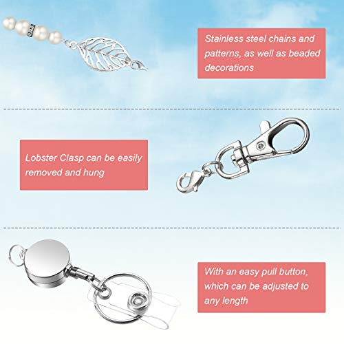 3 Pieces Retractable Badge Reel Lanyard Necklaces with 3 Pieces ID Holder Clips, Beaded Lanyards, Stainless Steel Leaf Chain, with 6 Pieces Waterproof Clear Badge Holder for Women Office Staff Student Photo #2