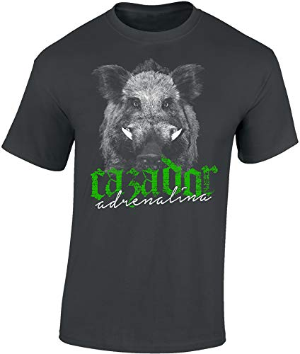 Camiseta: Cazador Adrenalina - Jabalí - T-Shirt Caza - Hombre-s y Mujer-es - Verraco- Outdoor - Trabajo - Bosque - Animal - Salvajina - Ciervo - Hunter - Regalo para Cazador (XL)