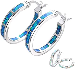 Naomi Life Stage White/Blue Fire Opal 925 Sterling Silver Round Hoop Dangle Earrings Women's Fashion Jewelry One Size Blue