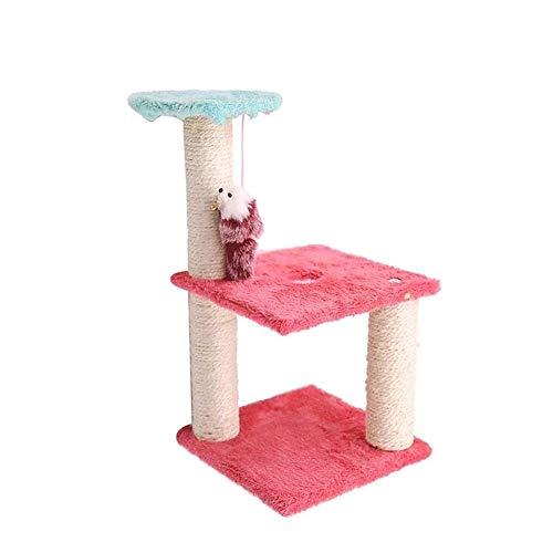 Ctiulipj Juego Juguete del gato nueva Interactivo felpa gato Rascador árbol animal doméstico del juguete del ratón Rascador columpio Suministros gato muebles for mascotas, mascotas Mensajes Play House
