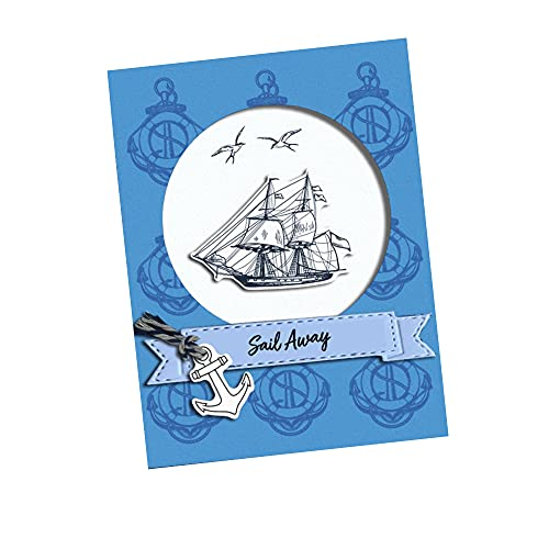 LZBRDY 5.9 by 8.3 Inch Lighthouse Sailing Ship Starfish Rudder Anchor Cutting Dies and Stamps Set for Card Making and Scrapbooking Birthday Christmas Craft Stamps and Dies