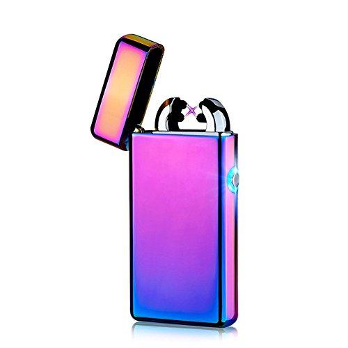 CHAOBEITE USB Elektronisches Feuerzeug Dual Lichtbogen Aufladbar Winddicht (Lila) Lila