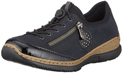 Rieker Damen N3268 Slip On Sneaker, Blau (Schwarz/Pazifik/Baltik/Schwarz 01), 42 EU