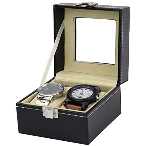 ZHANG Caja de Reloj Exhibidor Soporte de Cuero Organizador de Exhibición Compartimentos Ventana Transparente Joyería con Tapa Almohadillas Extraíbles