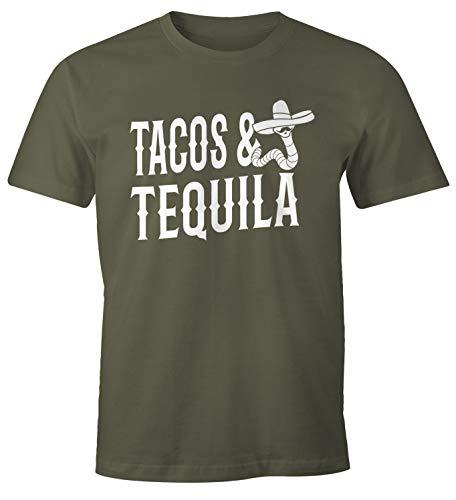 MoonWorks Herren T-Shirt Tacos & Tequila Wurm Sombrero Tequilla Mexikanisch Army M