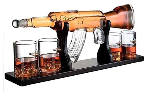 Set di decanter di pistola da 1000ml, elegante fucile Whisky Decanter con 4 bicchieri di whisky di proiettile e base in legno di mohogania, supporto per il rum Decanter alcolici per papà Decanter