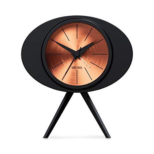 Space Hotel  The Landing Craft, Pequeño Reloj Despertador - Único Reloj Despertador Moderno con Marcador metálico Giratorio y Caja Negra de 14.8cm (Cobre)