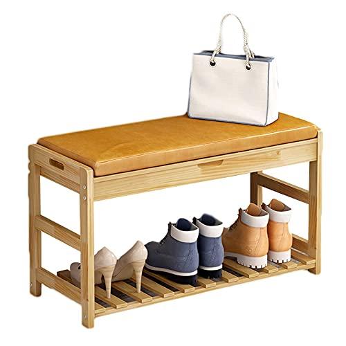 ZAIHW Zapatero de 2 niveles para almacenamiento de zapatos con asiento acolchado, marco de madera, para entrada, pasillo, salón, muebles de acento, color madera