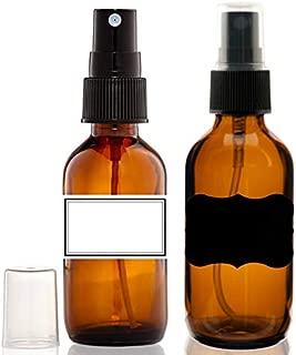 (2) Glass Amber 2 Oz Bottles with Black Fine Mist Sprayer for Aromatherapy & Cosmetic Sprays