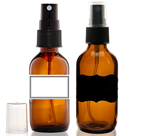 (2) Glass Amber 2 Oz Bottles with Black Fine Mist Sprayer for Aromatherapy & Cosmetic Sprays