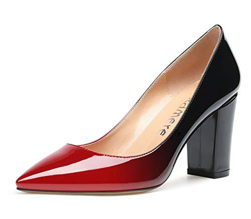 CASTAMERE Damen High Heels Spitzen Blockabsatz Pumps 8CM Lackleder Rot Schwarz Schuhe EU 44