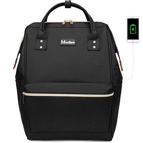 MOCFACE Laptop Backpack for women,men 15.6 Inch Wide Open Backpack Stylish School Work Bag with USB charging Port-Black