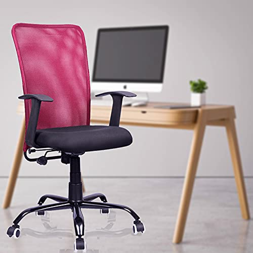 beAAtho JS-SJ Metal Base Mid Back Mesh Revolving Office Chair (6 Color Options, Red, Maroon)