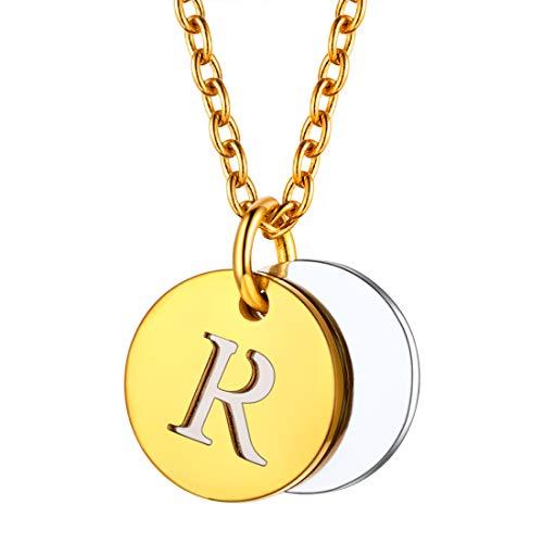 U7 イニシャルネックレスR レディース コインネックレス ゴールド ステンレス 2枚 小さめ 大人可愛い アクセサリー 母の日プレゼント