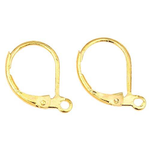 Perlin 10 Ohrstecker Gold Ohrringe Rund 15mm Klapp Brisuren Ohrhänger Ohrhaken M30