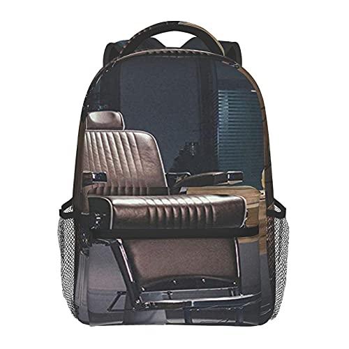BYETWIK Schulrucksack Schultaschen Mädchen Jungen Teenager Rucksack, Retro Vintage Friseurstuhl Old School Schultasche Schulrucksäcke Backpack für Damen Herren Geeignet
