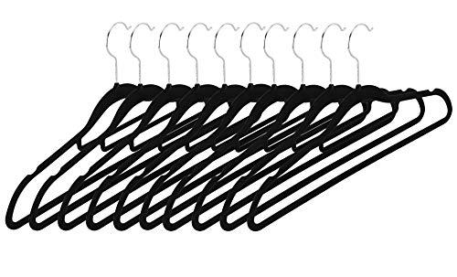 Intirilife Perchas Ropa Terciopelo in Negro Terciopelo – 10 Perchas Pequeño de Plástico con Forro en Terciopelo Anti-Deslizante y Barra para Pantalones – Perchas Organizadoras Armario Guarderropa