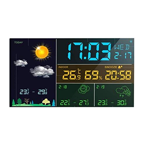 LXYZ Wecker Intelligente WiFi Die Wetteruhr Multifunktions Haushalt Elektronische Temperatur Luftfeuchtigkeit Schlafzimmer Meteorologische Ewiger Kalender