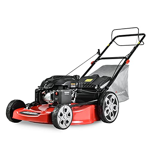 PowerSmart Lawn Mower, 22-inch & 200CC, Gas Powered Self-propelled Lawn Mower with 4-Stroke Engine, 3-in-1 Gas Mower in Color Red/Black, 5 Adjustable Heights (1.2''-3.5'' ), PSM2322SR