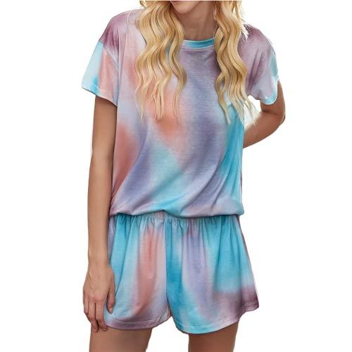 Rose Halcyon Schlafanzug Damen kurz, Tie Dye Pyjama Nachtwäsche mit kurz Ärmel, Zweiteilige Pyjamas Sleepwear, Hausanzug Set for Women (Blau, L)