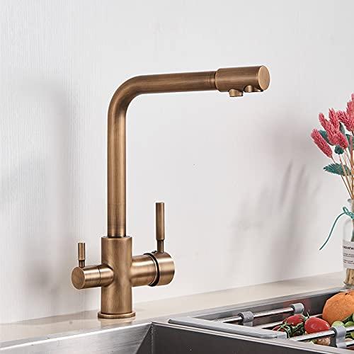 Grifo de la cocina Grifo de cocina negro de agua, grifo de agua potable, grifos giratorios con función de purificación de agua para grifos mezcladores de fregadero de cocina